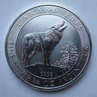 Канада, 2 доллара, 2015, серебро (Первая монета серии 'Grey Wolf Series')