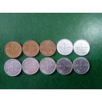 Сборный лот Финляндия   1 пенни 10 шт с погодовка