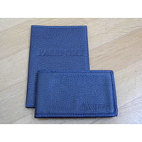 Обложка для паспорта и визитница cardholder (цвет Индиго, натуральная кожа, комплект)