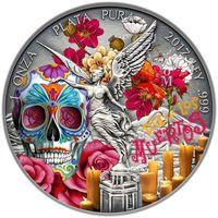 """RARE: Мексика 1 либертад 2017г. """"День мёртвых"""". Монета в капсуле; подарочной футляре; номерной сертификат; коробка. СЕРЕБРО 31,135 гр.(1 oz)."""