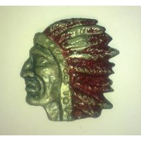 Индеец, эмблема, значок, металл