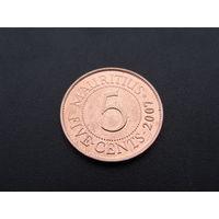 Маврикий. 5 центов 2007 год /Сэр Сивусагур Рамгулам/ КМ#52