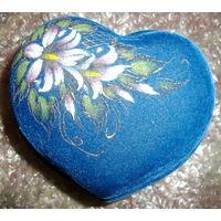 Шкатулка большая синяя с цветком, новая