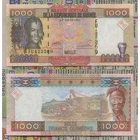 "Распродажа коллекции. Гвинея. 1 000 франков 2006 года (P-40 - 2006-2012 ""New Arms/Full Print"" Issue)"