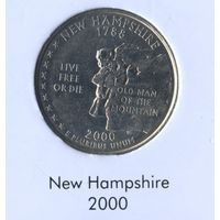 25 центов США 2000 г. штат Нью Хэмпшир D