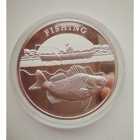 Ниуэ 1 доллар 2014. Рыбалка. Серебро 0,999. Пруф. Редкость. Тираж 2222