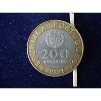 Монета 200 эскудо, Португадия, 1991 г.