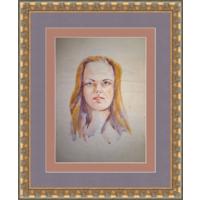 Старый портрет девушки, акварель 90-е