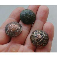 Три пуговицы, пуги РИА, орел на пушках, топор и якорь, серебрение