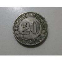 ГЕРМАНСКАЯ ИМПЕРИЯ 20 пфеннигов 1887 редкая!
