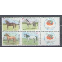 Иран Лошади 2002 год чистая полная серия из 4-х марок и 2-х боковых купонов