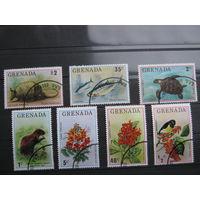Марки - флора, фауна, Гренада, черепаха, рыбы, птицы, броненосец, крыса, цветы