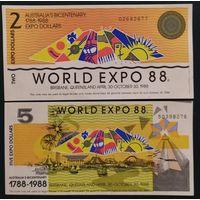 Набор 2 и 5 долларов (Экспо 1988) - Австралия - UNC