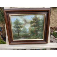 344 Красивая Картина лесной Пейзаж Масло Холст 25х20см - Рама Дерево 34х29