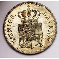 РАСПРОДАЖА!!! - ГЕРМАНИЯ БАВАРИЯ 1 крейцер 1841 год (серебро,билон) - BU!