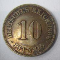 Германия. 10 пфеннигов 1908 D . 1-57