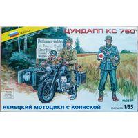 """Сборная модель 1/35. Немецкий мотоцикл с коляской """"Цундапп КС 750"""""""