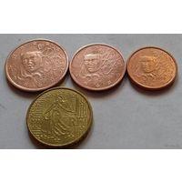 Набор евро монет Франция 2008 г. (1, 2, 5, 10 евроцентов), AU