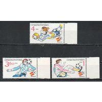 Чемпионат мира по футболу в Испании Чехословакия 1982 год серия из 3-х марок