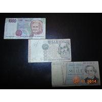 Италия  3  тысячи лир  1990 -1969 - 1982 гг.