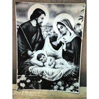 Католическая икона ''Рождество'' (Божэ Народзэне) на картоне. Середина 20 века.