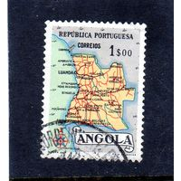 Ангола. Ми-395. Карта Анголы.1955.