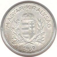 Венгрия 1 пенго 1939 года. Серебро. Состояние aUNC!