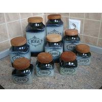 Набор банок для сыпучих продуктов и приправ, керамика 9 шт. (2х1л; 3х0,5л; 4х0,25л)
