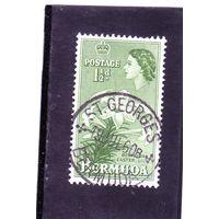 Бермуды. Ми-132. Королева Елизавета II. Восточная лилия. 1953. редкая марка, полная почтовая печать.