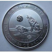 Канада, 2 доллара, 2016, серебро (Вторая монета серии 'Grey Wolf Series')