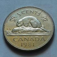 5 центов, Канада 1981 г., AU