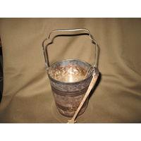 С 1 рубля!Ведёрко для шампанского льда со щипчиками мельхиор,серебрение.60-е года.Новое.