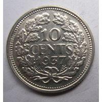 Нидерланды. 10 центов 1937. Серебро. 250