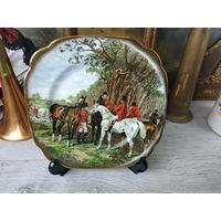 Красивая тарелка охота Фарфор Клеймо Роспись Деколь Англия Позолота 24к