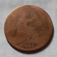 1 пенни, Великобритания 1861 г., королева Виктория