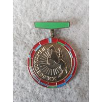 Нагрудный знак участника XX-х Всесоюзных соревнований конников. СССР, 1977 год.