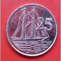 06-34 Каймановы острова, 25 центов 1999 г. Единственное предложение монеты данного года на АУ