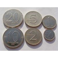 Ангола. набор 6 монет 50 лвей - 1,2,5,10,20 кванз 1977 - 1979 год