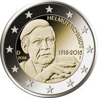 2 евро 2018 Германия F Гельмут Шмидт UNC из ролла