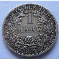Германия 1 марка 1907 отметка монетного двора F - Штутгарт