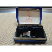 Запонки и зажим для галстука , серебро 875