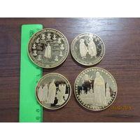4 памятных настольных медалей.Бронза.Полировка.С рубля.