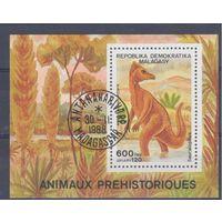 [213] Мадагаскар 1989.Фауна.Динозавры.  Гашеный блок.