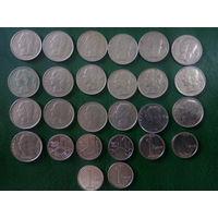 Сборный лот Бельгии 1 франк  26 шт  погодовка без повторов