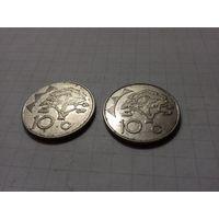 Намибия 10 центов 1998 - две монеты одним лотом