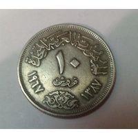 Египет Объединенная Арабская республика АР 10 пиастров 1967 (орел)