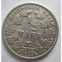 Германия. 1\2 марки 1915 G. Серебро . 106