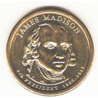 1 доллар 2007. 4-й президент Джеймс Мэдисон