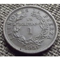 Боливия. 1 боливиано 1951