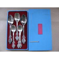 Набор мельхиоровый чайных и кофейных ложек 6+6 + 1 ложечка для сахара. в коробке. МНЦ